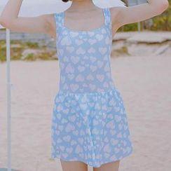 小桃泳衣 - 心心印花泳裝連衣裙
