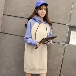Maine - Long-Sleeve Color-Block Hooded Dress