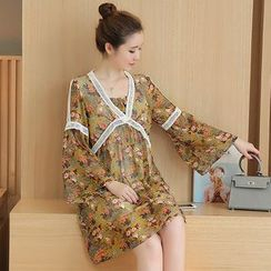 Maiden's Tale - Maternity Floral Print Bell-Sleeve Chiffon Dress