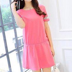 Q.C.T - Short-Sleeve Sheer Panel Dress