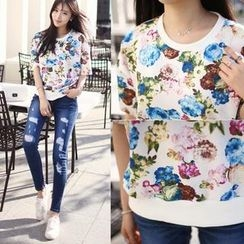 HOTPING - Round-Neck Floral Print Top