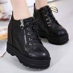 Anran - Chunky Heel Lace Up Boots