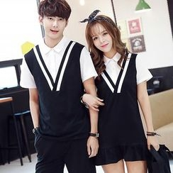 Lovebirds - Couple Short-Sleeve Dress / Short-Sleeve Top / Shorts
