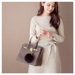 MASoeur - Contrast-Trim Pleated-Hem A-Line Knit Dress