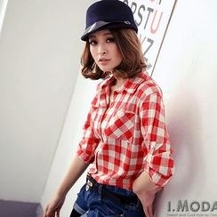 OrangeBear - Tab Long-Sleeve Gingham Shirt