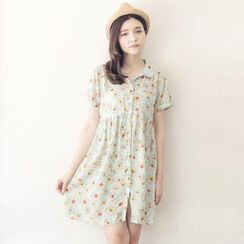 Tokyo Fashion - Short-Sleeve Floral Chiffon Shirtdress