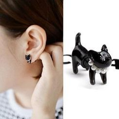 Seoul Young - Double-Stud Cat Single Earring