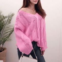DABAGIRL - V-Neck Cable-Knit Sweater