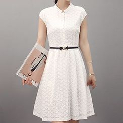 Romantica - Short-Sleeve Belted Lace Dress