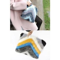 PPGIRL - Color-Block Faux-Fur Clutch