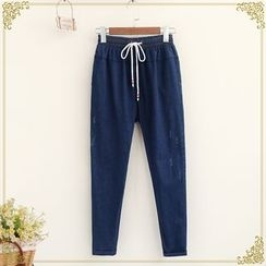 Fairyland - Embroidered Drawstring Jeans