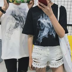 Bestrooy - Couple Matching Printed Short Sleeve T-Shirt