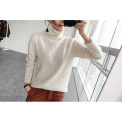 UPTOWNHOLIC - Turtle-Neck Wool Knit Top