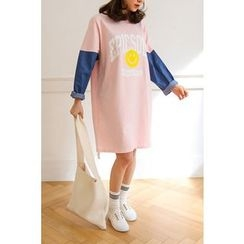 PPGIRL - Color-Block Lettering T-Shirt Dress