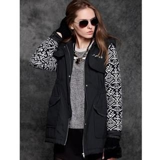 Moonbasa - Patterned-Sleeve Hooded Padded Parka