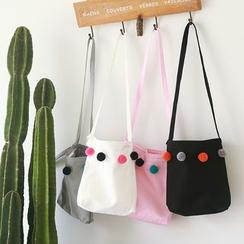 TangTangBags - Pompom-Detail Canvas Cross Bag
