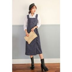 PPGIRL - Wrap-Front Checked Suspender Dress