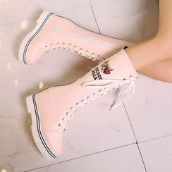 Pastel Pairs - Cat Print Lace Up Tall Boots