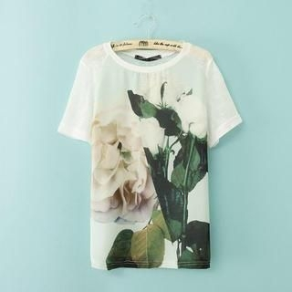 LULUS - Short-Sleeve Flower-Print T-Shirt