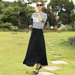Romantic Factory - Drawstring-Waist A-Line Long Skirt