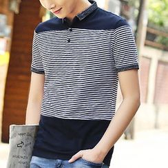 HANDA - Stripe Short-Sleeve Polo Shirt
