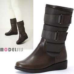 MODELSIS - Genuine Leather Padded Velcro Boots