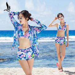 SANQI - 套装: 碎花比基尼泳衣 + 罩衫