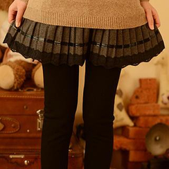 Moriville - Inset Pleat Skirt Fleece-Lined Leggings
