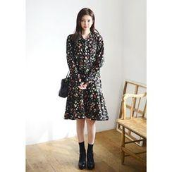 DEEPNY - Long-Sleeve Ruffle-Hem Floral Print Dress