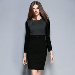 Cherry Dress - Long-Sleeve Color Block Dress