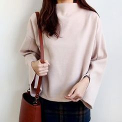 Seoul Fashion - Mock-Neck Slit-Sleeve Pullover