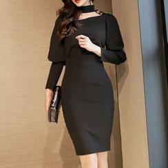 ISMY - Choker Neck Long-Sleeve Bodycon Dress