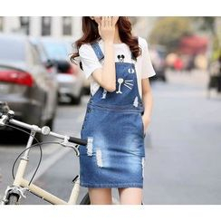 Dollisee - Set: Short-Sleeve T-Shirt + Denim Jumper Dress