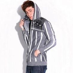 I Go Fashion Snowflake-Print Striped Hoodie