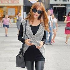 REDOPIN - Set: Sleeveless Knit Top + Long-Sleeve T-Shirt