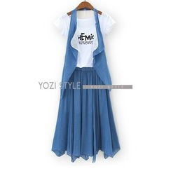 YOZI - Set: Layered Vest + Lettering T-Shirt + Maxi Skirt