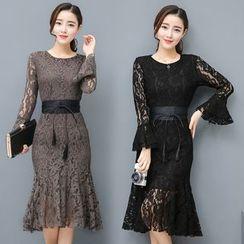 EFO - Bell-Sleeve Lace Ruffle Sheath Dress