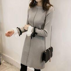 Little V - Pleated Trim Long Sleeve Knit Dress