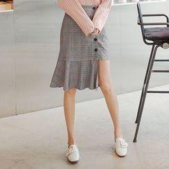 Cherryville - Button-Front Asymmetric-Hem Skirt