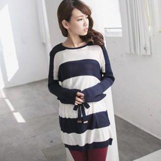 Tokyo Fashion - Drawstring-Waist Color-Block Knit Tunic