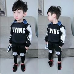 POMME - Kids Set: Lettering Denim Collared Pullover + Pants