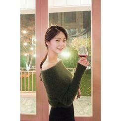 CHERRYKOKO - Off-Shoulder Wool Blend Knit Top