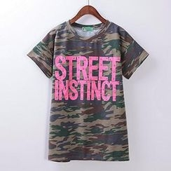 Classic Lady - Embellished Lettering Short-Sleeve T-Shirt