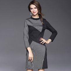 欧依潮派 - 七分袖条纹拼接连衣裙