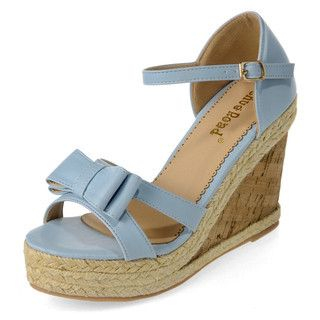 yeswalker - Double Bow Ankle Strap Wedge Sandals