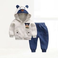 ciciibear - Kids Set: Bear Fleece-lined Hoodie + Pants