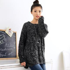 59 Seconds - Dolman-Sleeve Mélange Long Sweater