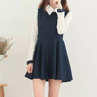 Aigan - Mock Two-Piece Plaid Mini Dress