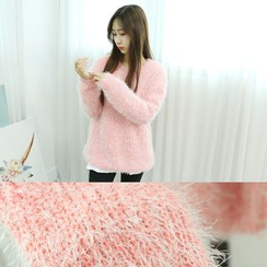 Dodostyle - Round-Neck Furry Knit Top
