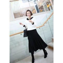 Lemite - Wool Blend Elastic-Waist Knit Skirt